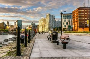 Liverpool benches on water front