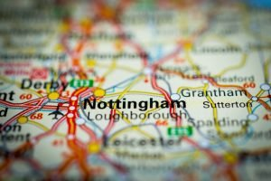 Nottingham location on the map